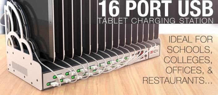 16 Port USB Tablet Charging Station