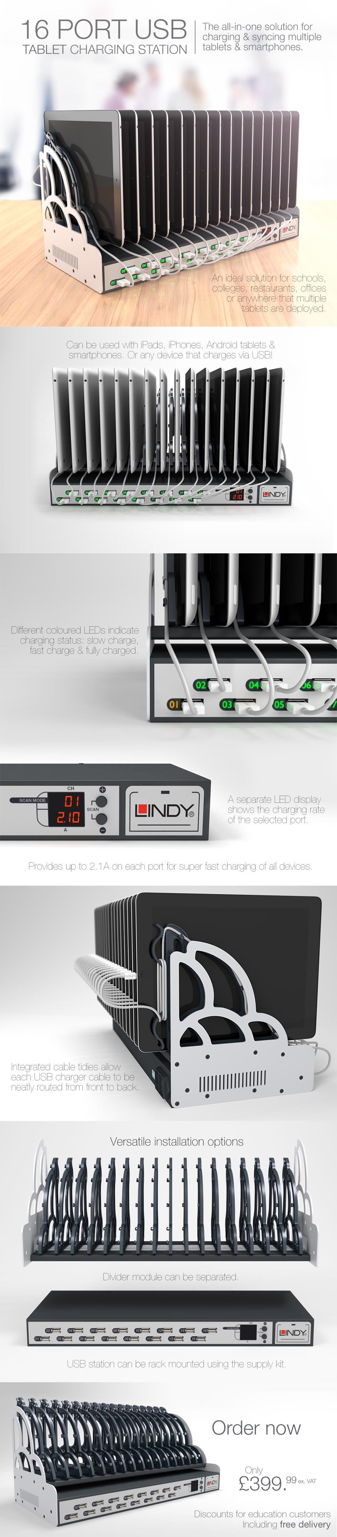 16 Port Tablet Charging Station