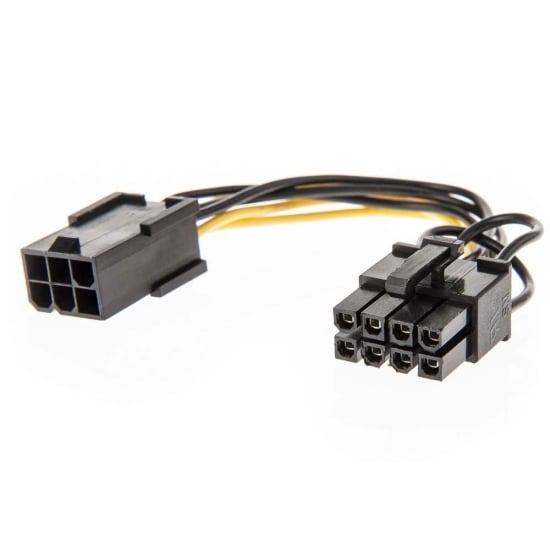 0.15m PCIe 6 Pin Female to 8 Pin Male Power Adapter Cable