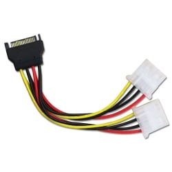 0.15m SATA Power Connector to 2 x LP4 Power Cable