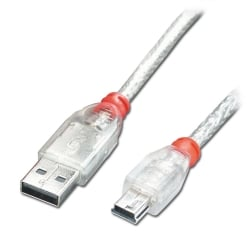 0.2m  USB 2.0 Cable - Type A To Mini-B, Transparent