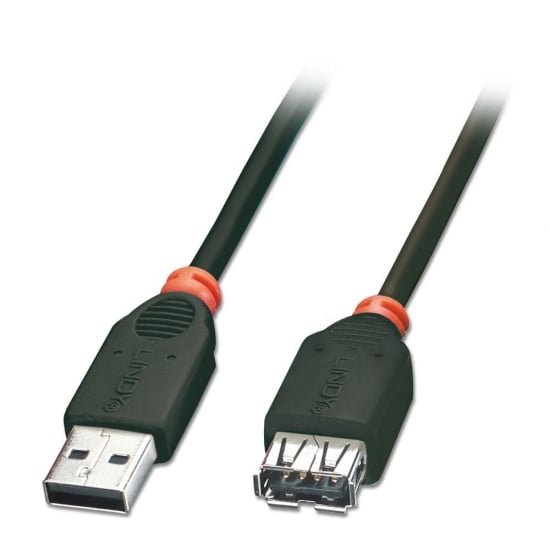 0.2m USB 2.0 Extension Cable - Type A Male to Female, Black
