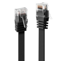 0.3m Cat.6 U/UTP Flat Network Cable, Black