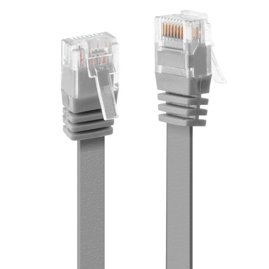 0.3m Cat.6 U/UTP Flat Network Cable, Grey