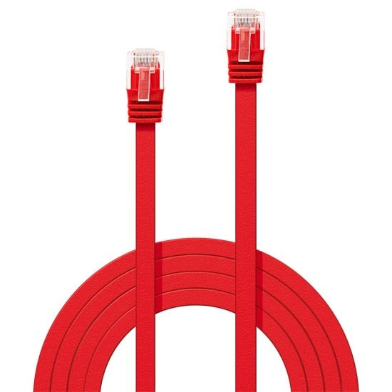0.3m Cat.6 U/UTP Flat Network Cable, Red