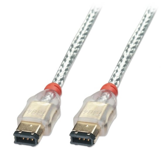 0.3m Premium FireWire Cable - 6 Pin Male to 6 Pin Male, Transparent