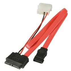 0.3m Slimline SATA Cable with LP4 Power Connection