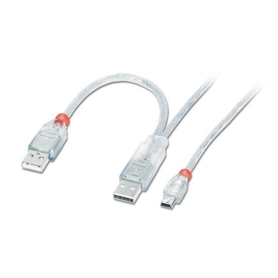 0.5m USB 2.0 Dual Power Cable - 2 x Type A (20cm apart) to Mini-B