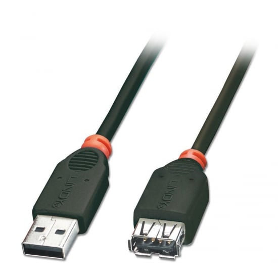 0.5m USB 2.0 Extension Cable - Type A Male to Female, Black