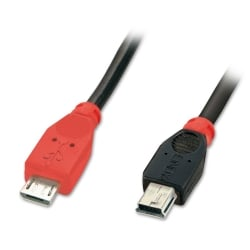 0.5m USB OTG Cable - Black, Type Micro-B to Mini-B