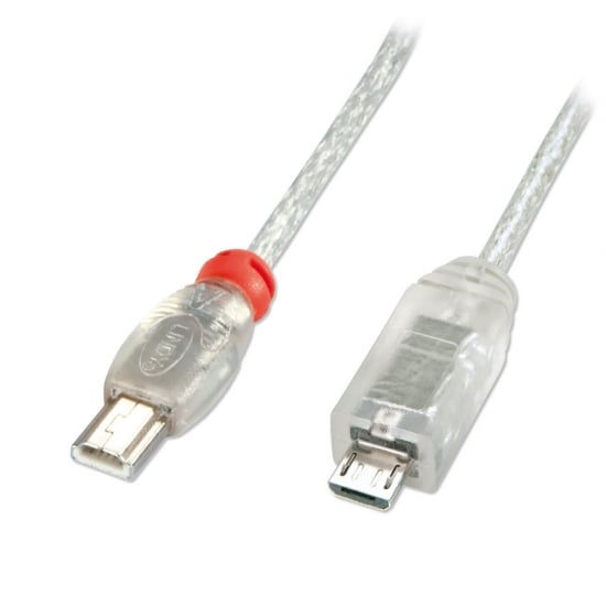 0.5m USB OTG Cable - Transparent, Type Mini A to Micro B