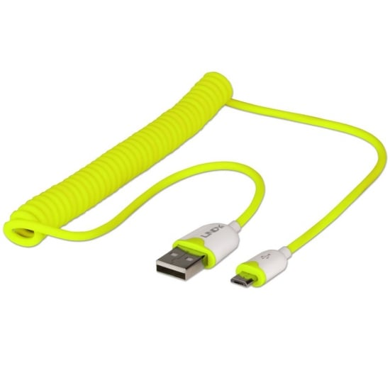 Coiled USB 2.0 Cable Type A to Micro-B Yellow 1.6m