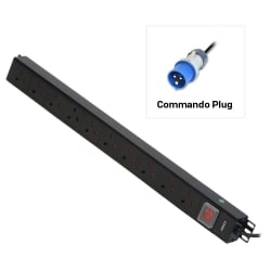 10 Way UK Mains Sockets, Vertical PDU with Commando Plug