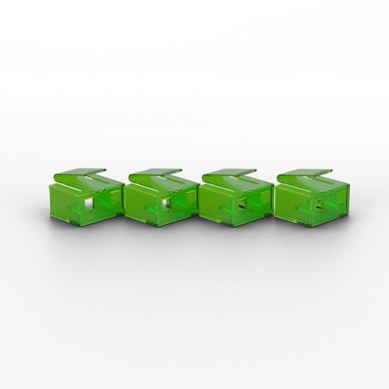 10 x RJ-45 Port Blockers with Key, Green