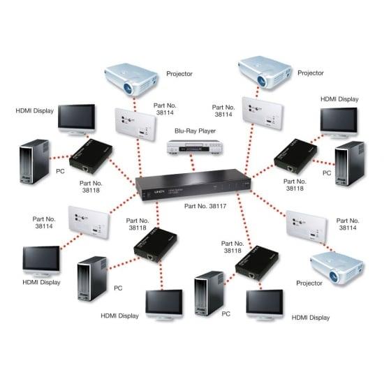 100m Cat.6 8 Port HDMI & IR HDBaseT Splitter with Ethernet Hub