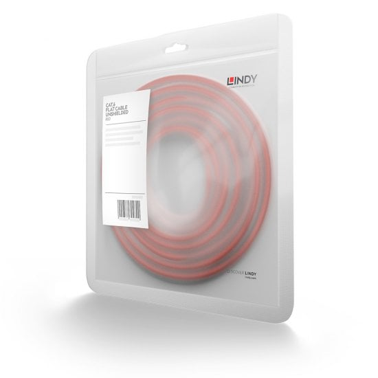 10m Cat.6 U/UTP Flat Network Cable, Red