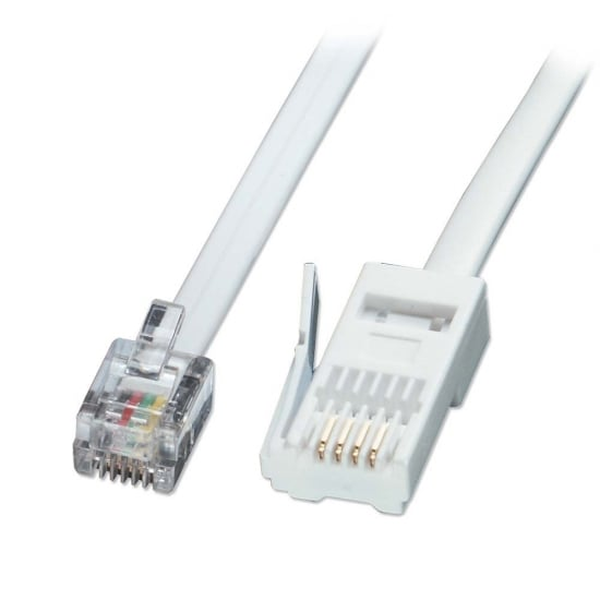 10m Fax/Modem to BT Telephone Wall Socket Cable, Straight-through