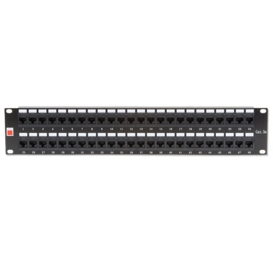 "19"" CAT5e 2U 48 Port RJ-45 Patch Panel, Unshielded, Black"