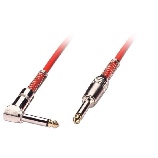 "1m Guitar Lead - 1/4"" Straight Jack to 1/4"" Right Angled Jack, Red"