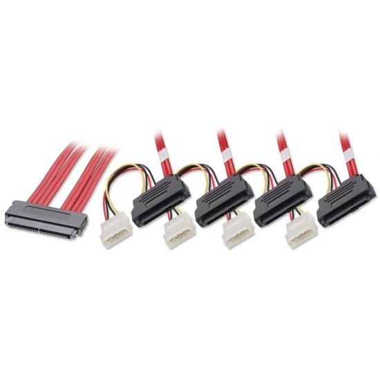 1m SAS / SATA Multilane to 4 x SAS + LP4 Power Cable