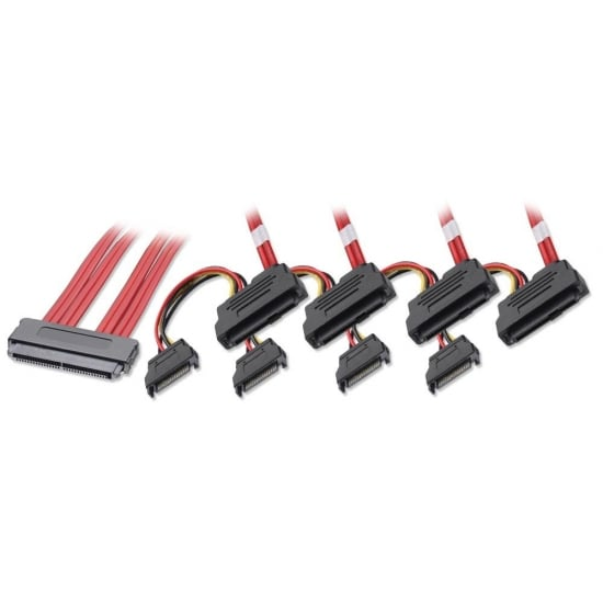 1m SAS / SATA Multilane to 4 x SAS + SATA Power Cable