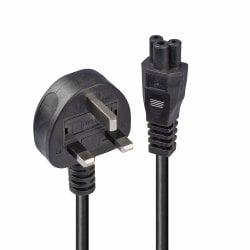"1m UK 3 Pin Plug to IEC C5 ""Cloverleaf"" Power Cable, Black"