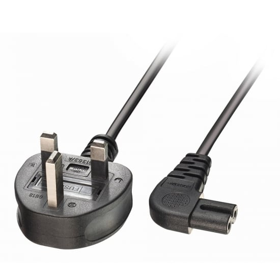 1m UK 3 Pin Plug to Right Angled IEC C7 Mains Power Cable, Black