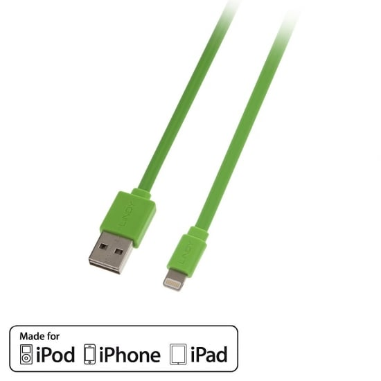 1m USB to Lightning Flat Cable with Reversible USB, Green