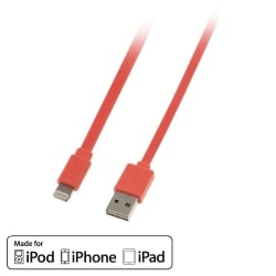 1m USB to Lightning Flat Cable with Reversible USB, Orange