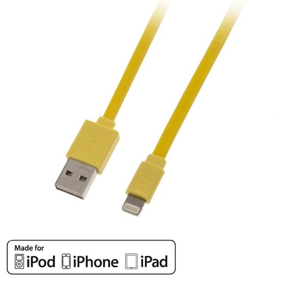 1m USB to Lightning Flat Cable with Reversible USB, Yellow