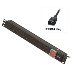 1U 6 Way UK Sockets, Horizontal PDU with IEC C14 Cable