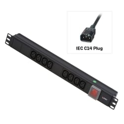 1U 8 Way IEC Sockets, Horizontal PDU with 3m IEC Mains Cable