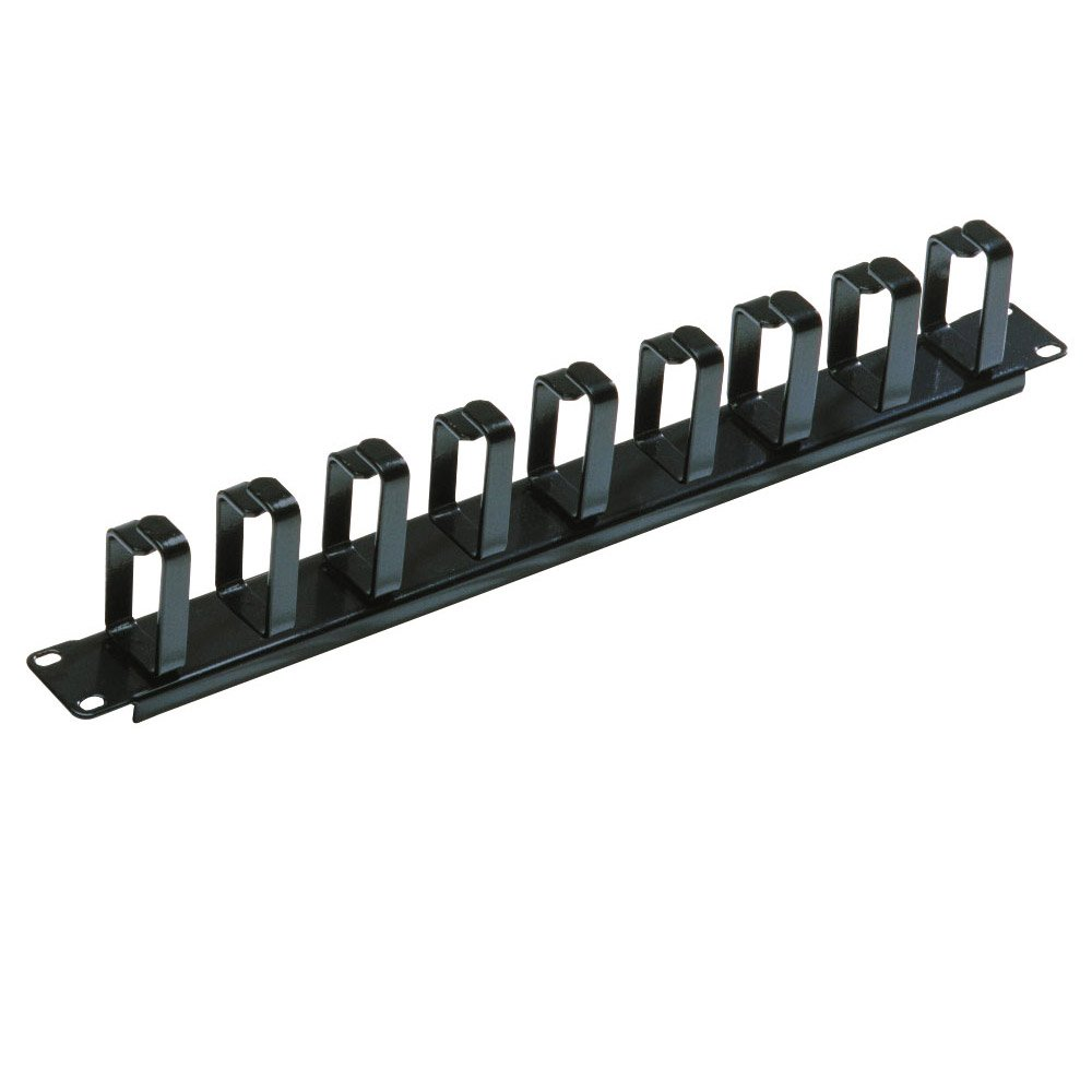 1u Horizontal Cable Management Panel With 9 Hoops