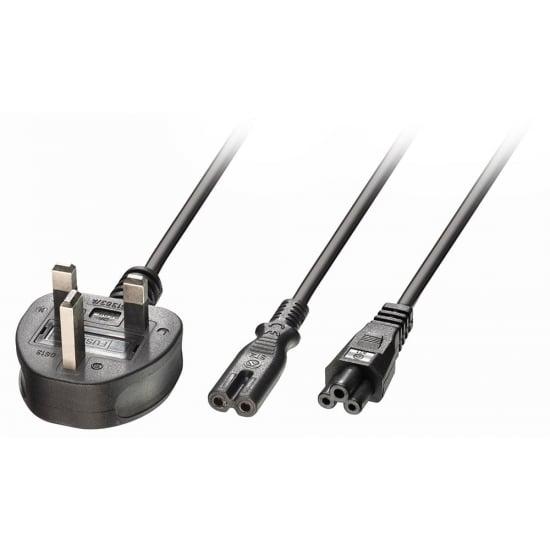 2.5m UK 3 Pin Plug to IEC C5 & IEC C7 Splitter Extension Cable, Black