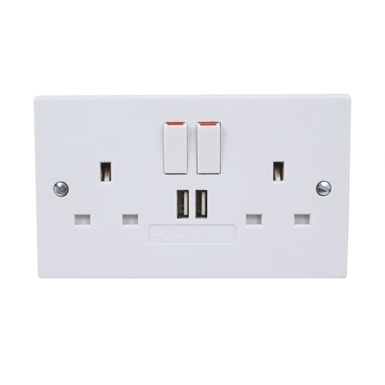 2 Gang Switched Single Pole Socket with 2 x USB Charger Ports