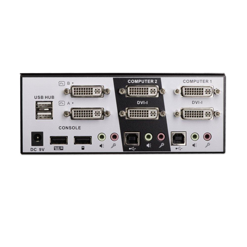 2 Port Dual Head Single Link DVI-I KVM Switch Pro with TTU