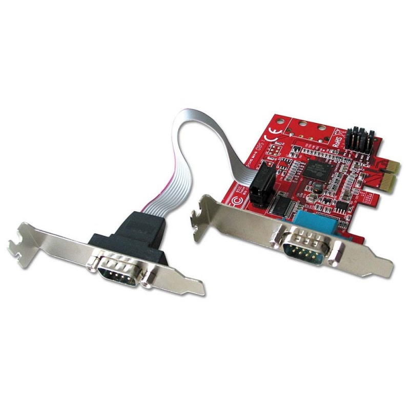 2 Port Low Profile Serial RS-232, 16C650, 128 Byte FIFO Card, PCIe