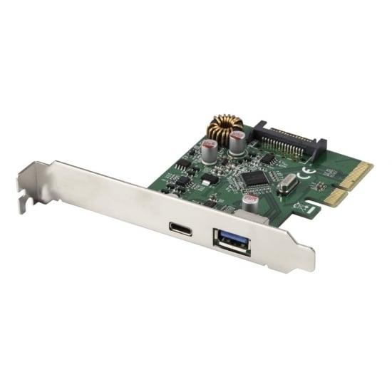 2 Port USB 3.1 Card, PCIe x4 - (1 x Type C, 1 x Type A)