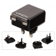 2 Port USB Mains Travel Charger, 1A / 10.5W, Black