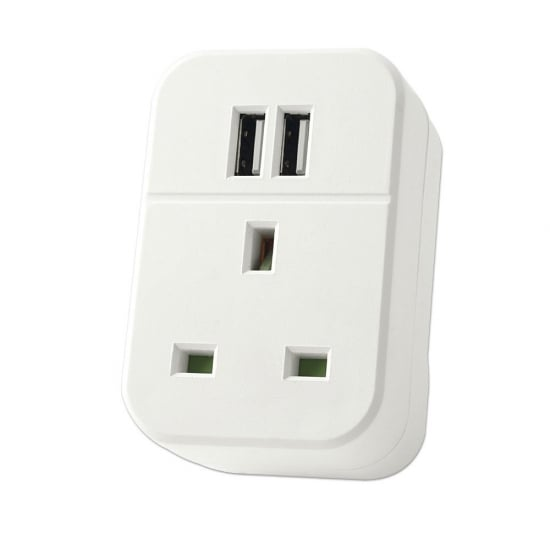 2 Port USB UK Mains Pass-through Charger, 3.15A / 15.75W, White