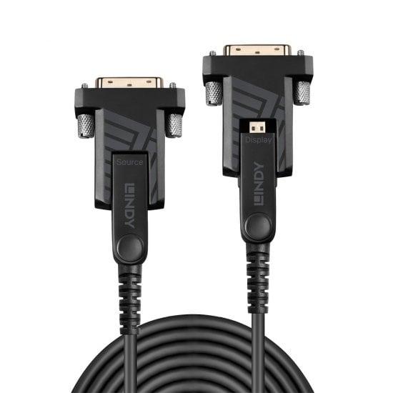 20m Fibre Optic Hybrid Micro-HDMI 18G Cable with Detachable HDMI & DVI Connectors