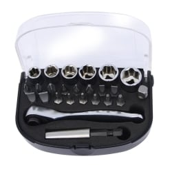 25 Piece Socket and Bit Set with Ratchet Handle