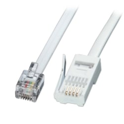 2m Fax/Modem to BT Telephone Wall Socket Cable, Straight-through