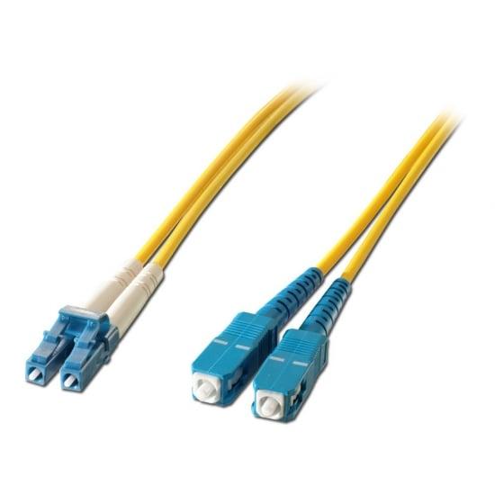 2m Fibre Optic Patch Lead OS1 LC to SC Connectors, 9/125µm