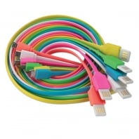 2m Flat Reversible USB 2.0 Cable, Type A to Micro-B, Pink