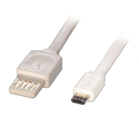 2m Flat Reversible USB 2.0 Cable, Type A to Micro-B, White