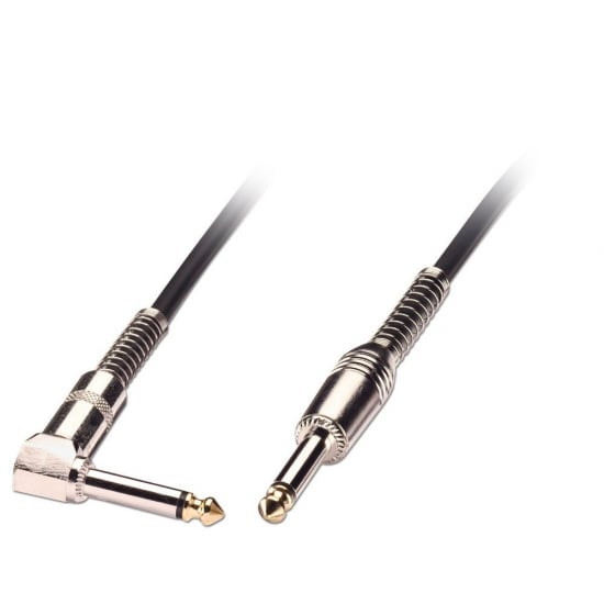 """2m Guitar Lead - 1/4"""" Straight Jack to 1/4"""" Right Angled Jack, Black"""