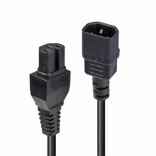 2m IEC C14 to IEC C15 'Hot Condition' Power Cable. Black