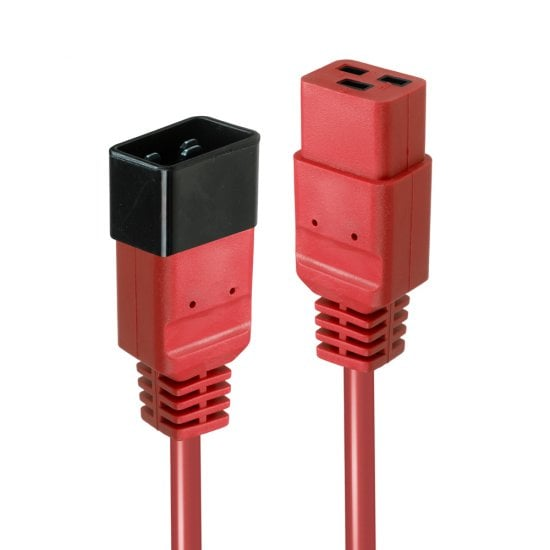 2m IEC C19 to C20 Extension Cable, Red