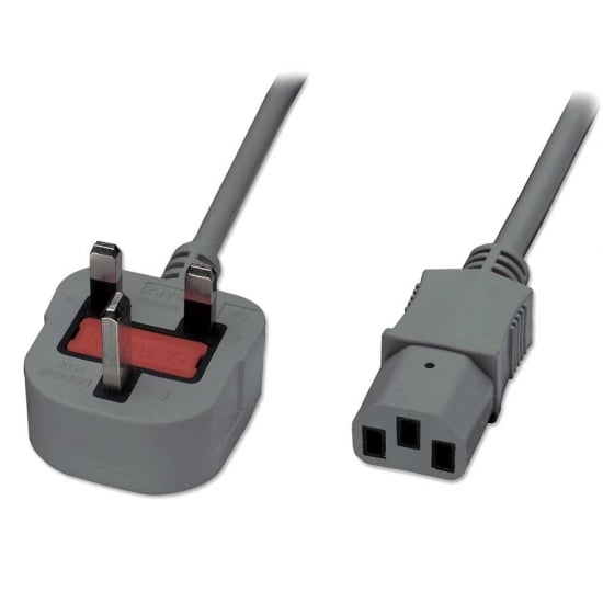 2m Mains Power Cable, UK 3 Pin Plug to IEC C13, Grey